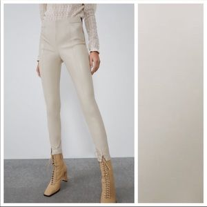 Nwt Zara cream faux leather leggins. Bloggers pick